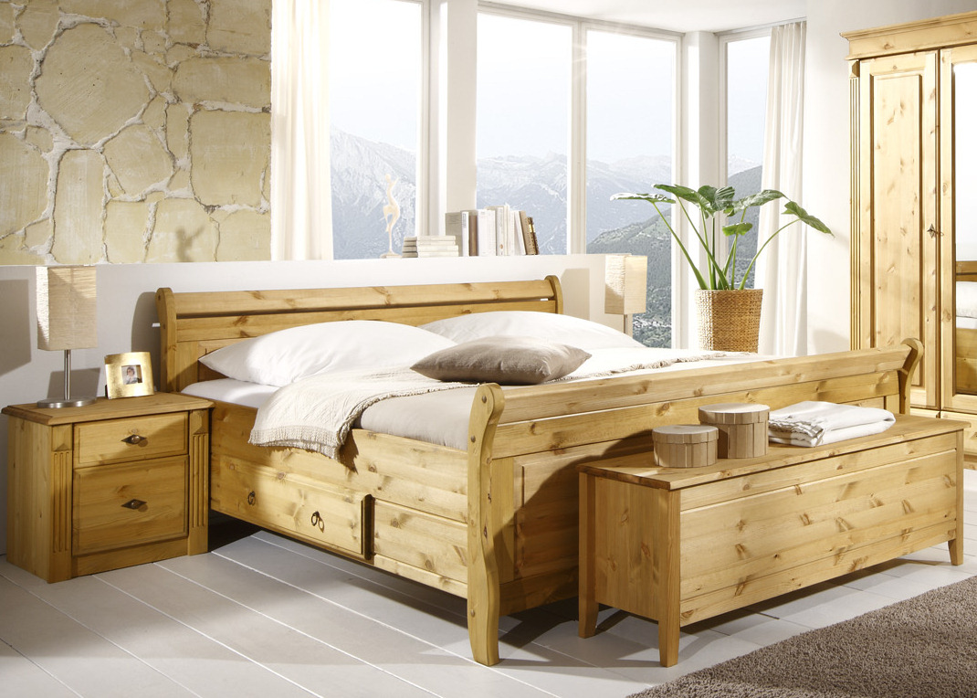 schlafzimmer kiefer massiv cora landhaus. Black Bedroom Furniture Sets. Home Design Ideas