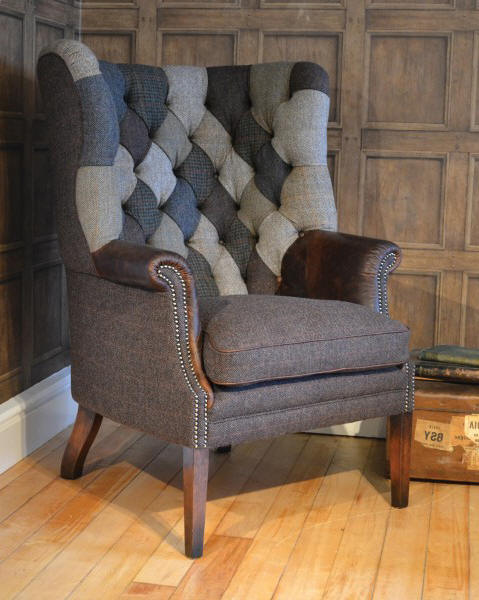 Ohrensessel patchwork  Harris Tweed Sofas, made in England