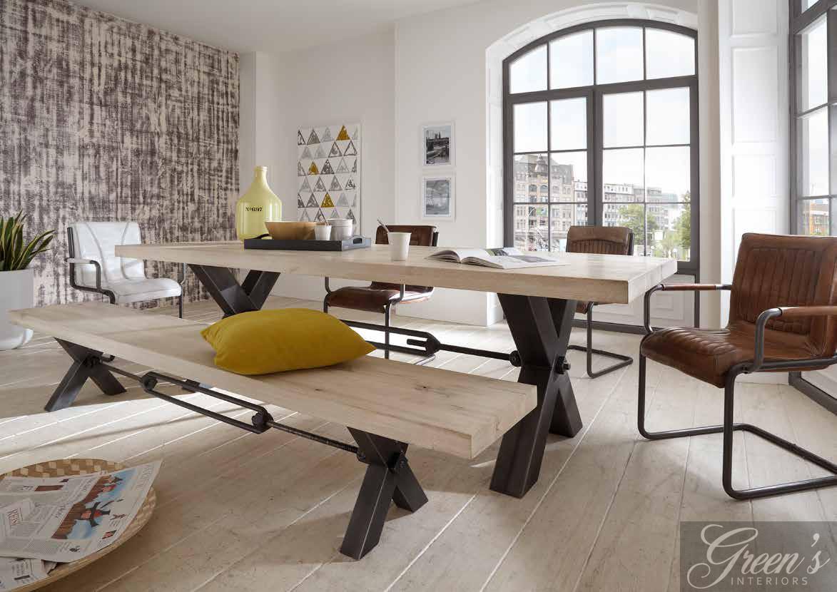 esstisch kansas stahlbein platte balkeneiche dam 2000 ltd co kg. Black Bedroom Furniture Sets. Home Design Ideas
