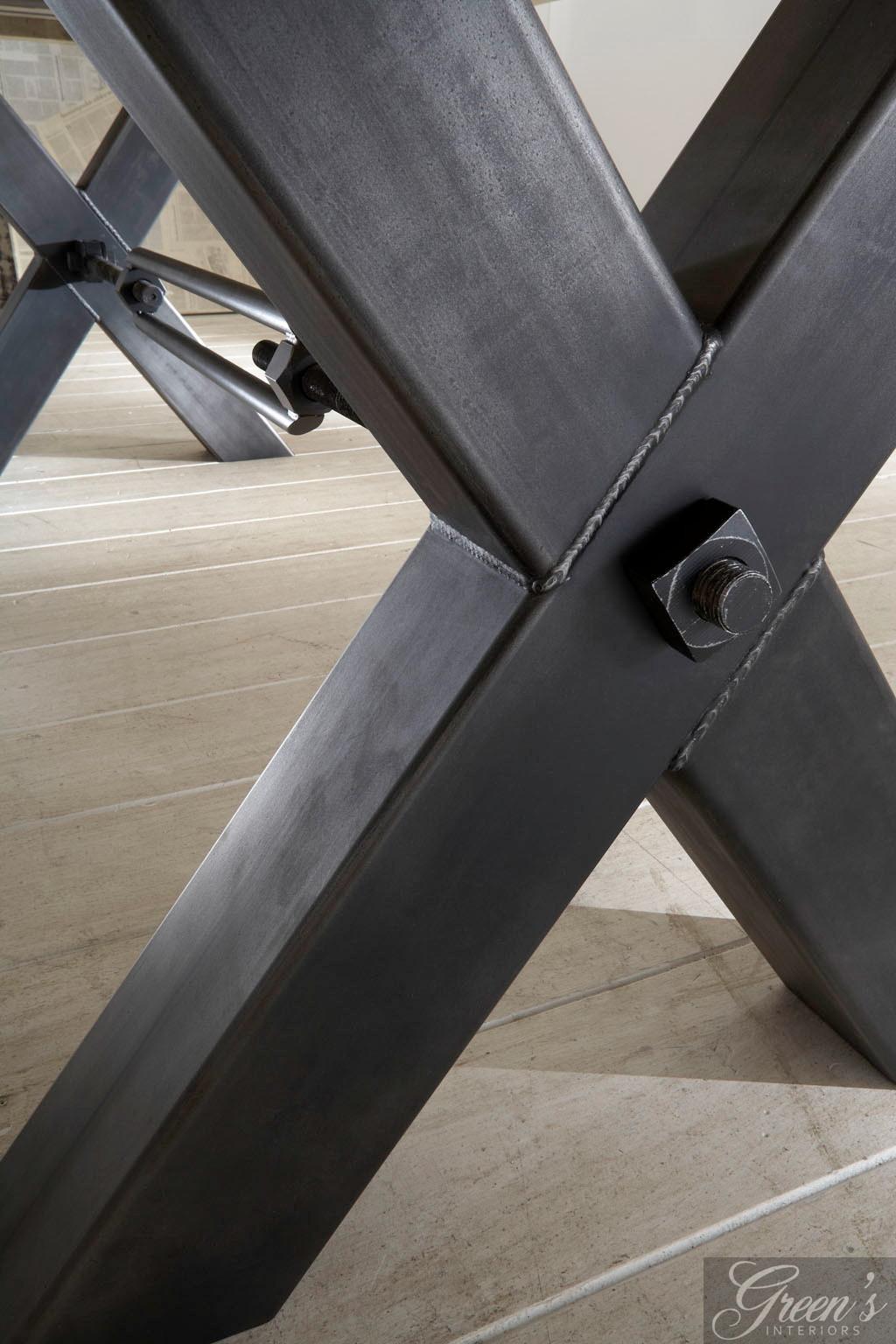 Esstisch kansas stahlbein platte balkeneiche dam 2000 for Holztisch gebraucht