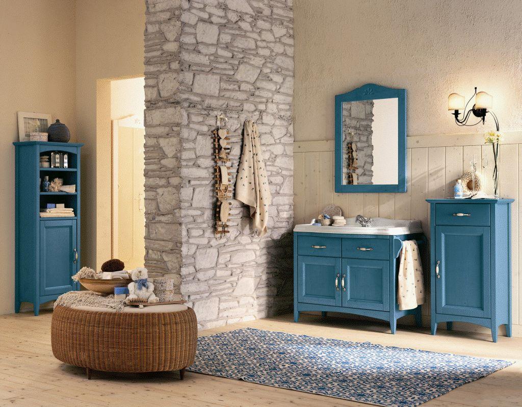Badmöbel blau  Spiegel, Kiefer gebürstet - DAM 2000 Ltd. & Co KG